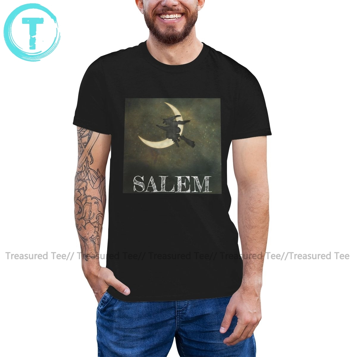 Salem T Shirt Salem <font><b>Massachusetts</b></font> Witch Flying T-Shirt 100 Percent Cotton Classic Tee Shirt Male 6xl Tshirt image