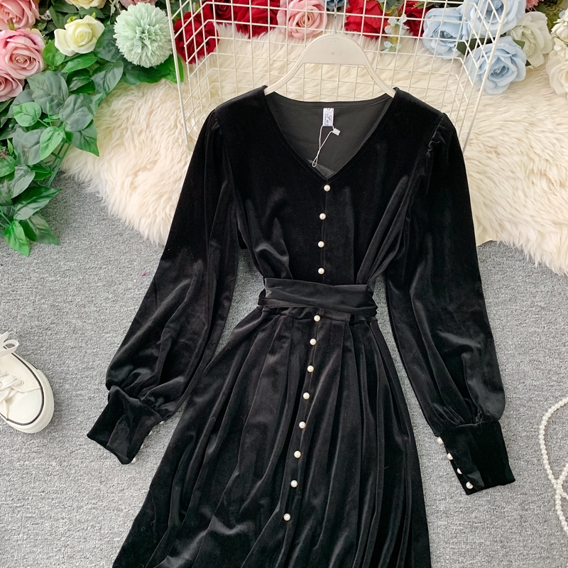 Black Party Velvet Dress Spring Summer Dress Women Clothes 2020 Korean Vintage Elegant Women's Dresses Vestidos Ropa Mujer T5227