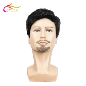 Fashion 2020 Wig Short Black Male Straight Synthetic Wig for Men Hair Fleeciness Realistic Natural Black Toupee Wigs(China)