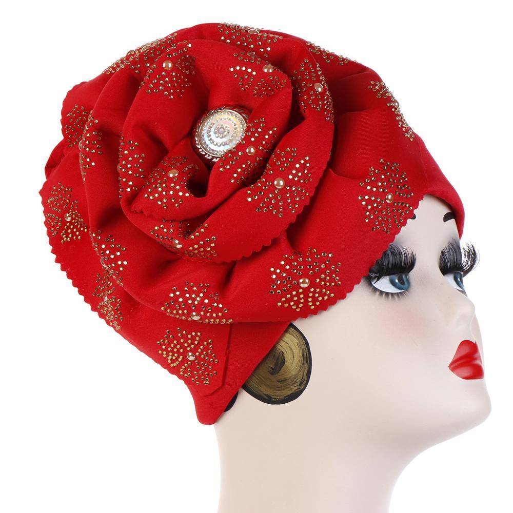 Helisopus Muslim Big Flowers Turban Women Shiny Glitter Oversized  Flower Hijab Bandana Head Cover Beanie Chemo Caps AccessoriesWomens  Hair Accessories