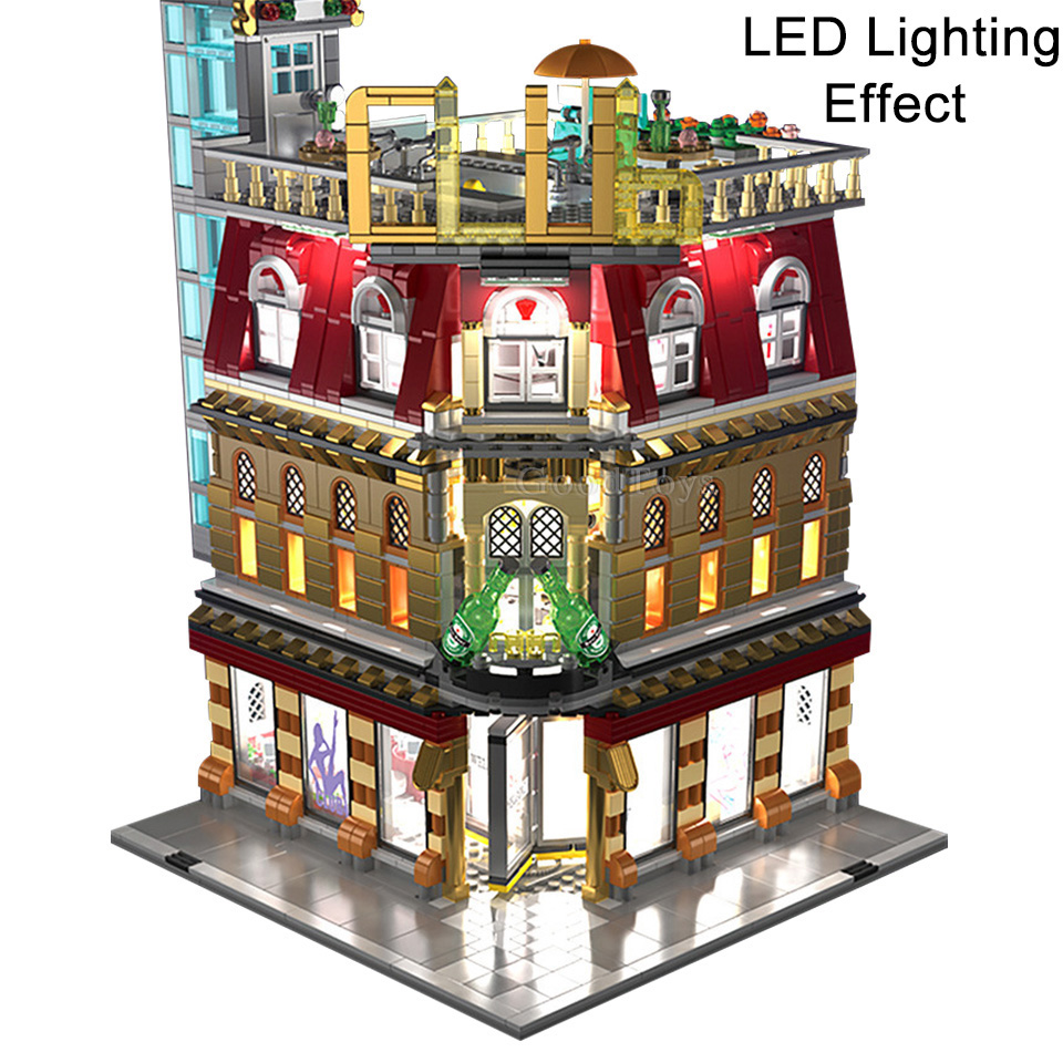 Image 2 - MOC Creator Expert LED 5in1 Luxury Night Club City Street View Building Blocks 2488 Piece Bricks Kids Gifts Toys For Children-in Blocks from Toys & Hobbies