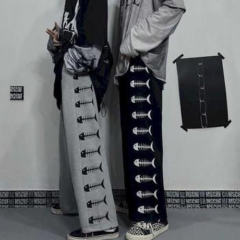 Spodnie w stylu Harajuku główna ulica mężczyźni i kobiety ciemna linia męska ins retro oryginalne spodnie mężczyźni i kobiety jesień ryby nadruk w kości str tanie i dobre opinie Szerokie spodnie nogi CN (pochodzenie) Plisowana COTTON Kieszenie Luźne Pełnej długości ll1158 Na co dzień Midweight