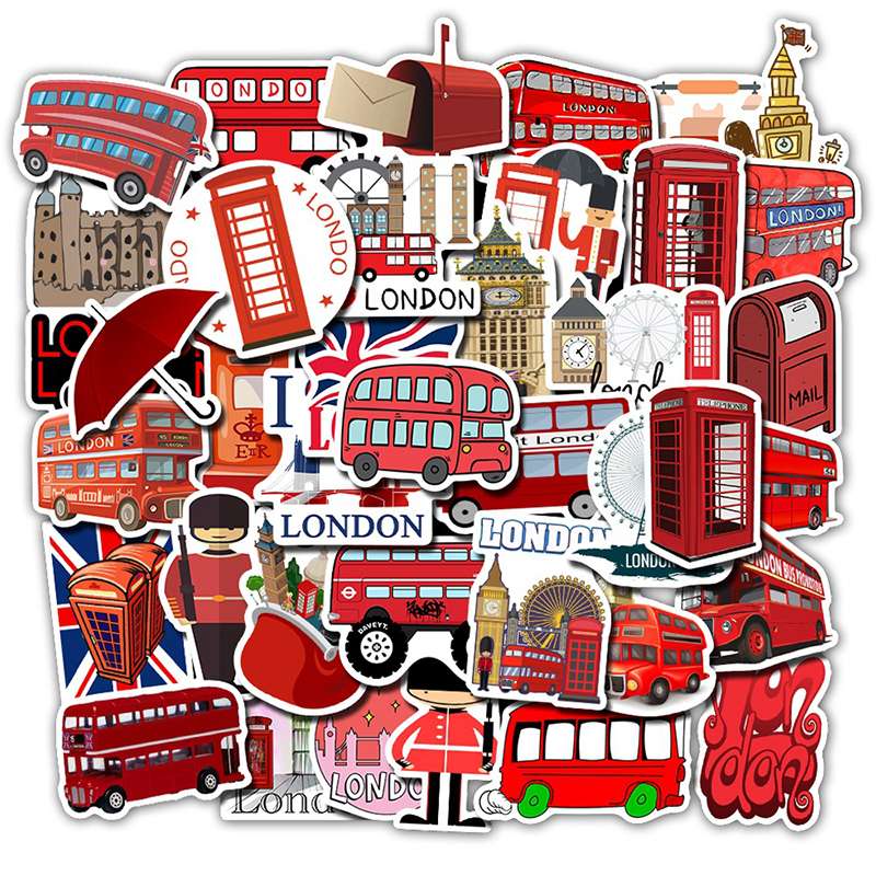 50Pcs London Red Bus Stickers Luggage Phone Laptop Waterproof Skateboard Graffiti Stickers Vinly DIY Decals For Computer Sticker