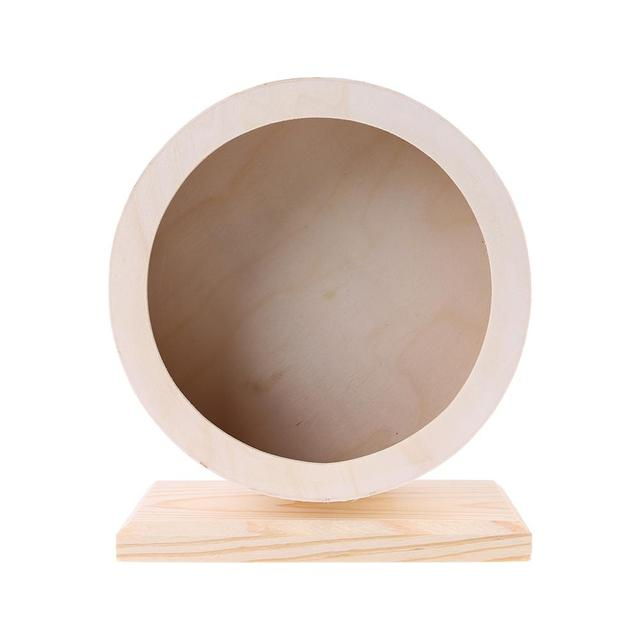 Pet Hamster Roller Wheel Natural Wood Play Toys Chinchilla Guinea Pig Squirrel Toy Rotate Running Exercise For Small Pets Bogie 2