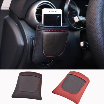 PU Leather Car Storage Bag Clip on Air Outlet Car Phone Bag For Ford Cmax Smax F150 Mustang Fiesta Galaxy Ecosport Focus Escape image