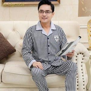 Image 1 - Pyjama Men Chinese Pajamas Button Cardigan Long Sleeve Nightwear Plaid Lapel Home Clothing 100% Cotton Plus Size 5xl Man Big Set