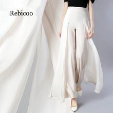 Elegant womens summer wide leg pants stretch high waist split chiffon trousers casual street fashion ladies