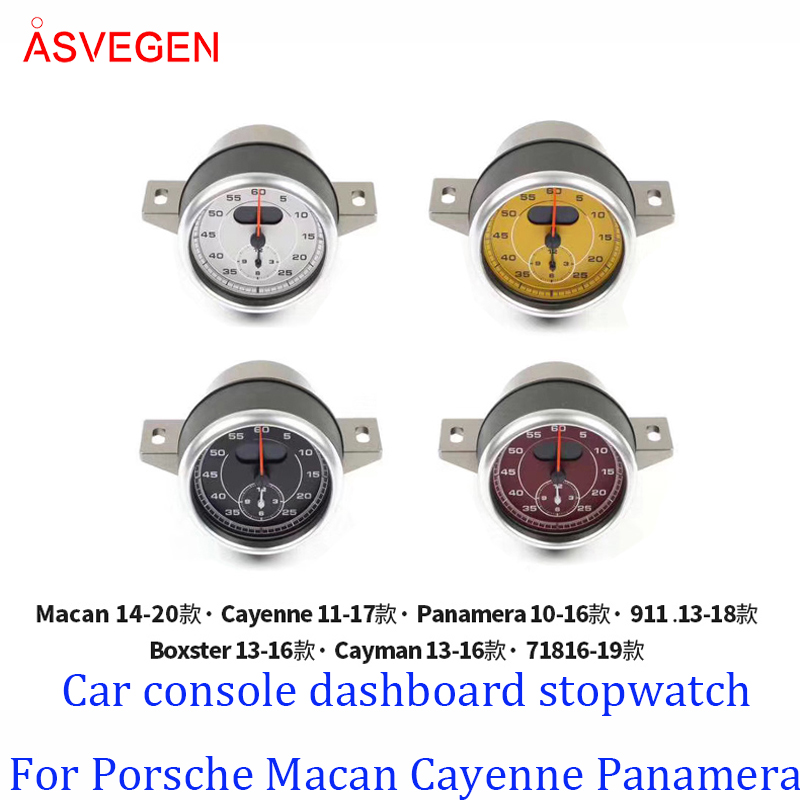 Car Console Dashboard Stopwatch For Porsche Macan Cayenne Panamera 911 <font><b>718</b></font> <font><b>Boxster</b></font> Auto Inner Dash Board Clock Time With 4 Color image