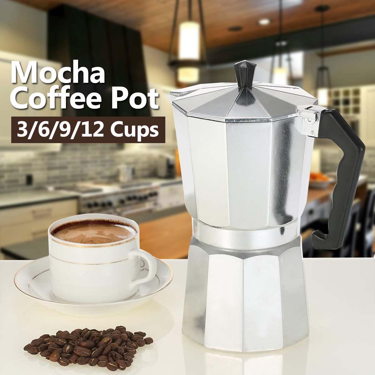 Coffee Maker Aluminum Mocha Espresso Percolator Moka Pot 1//3//6//9//12 cup