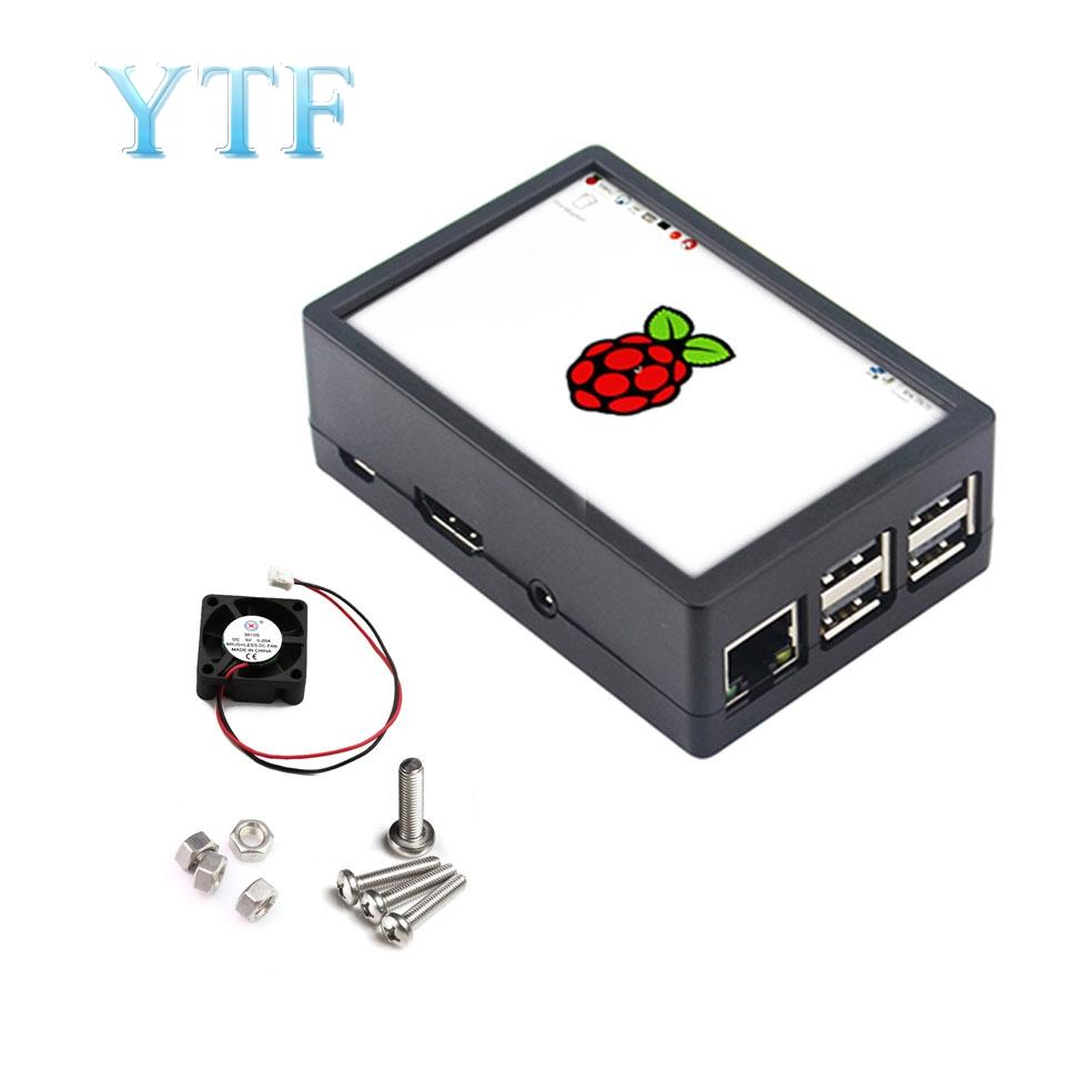 Raspberry Pi Can Be Installed With Cooling Fan 2 In 1 Chassis ABS Box 3B+ 3.5 Inch Touch Screen Display Shell