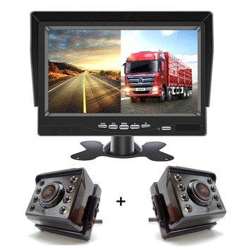цена на 2020 Update Car DVR, 7 Inch HD 1024x600P IPS Screen AHD Car Monitor With 2 Channels Support SD Card 8 LED Night Vision Camera