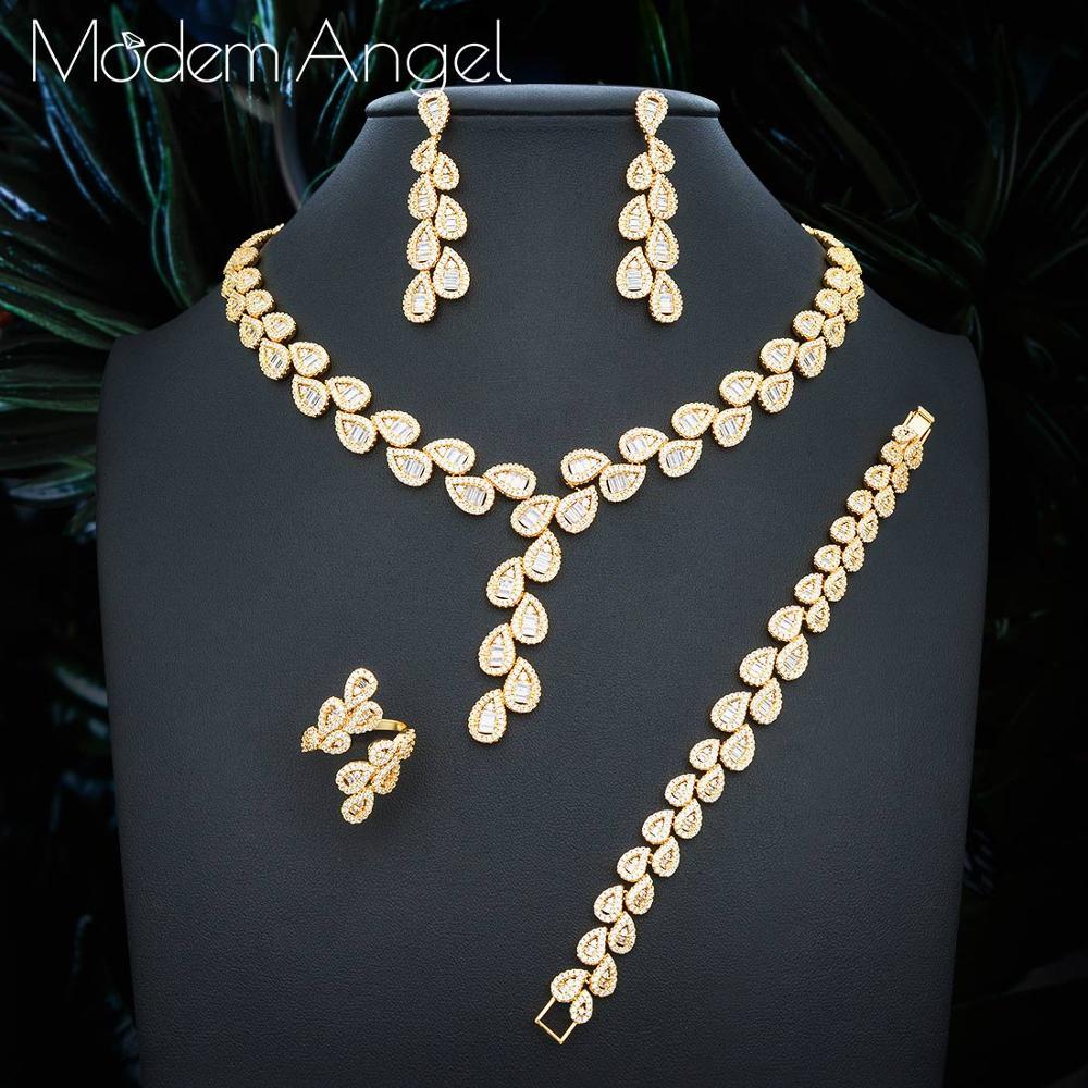 ModemAngel Luxury cubic zirconia necklace bracelet earrings and ring 4pcs dubai full jewelry set for women,bridal dress dinner