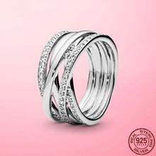 Bague femme 2021 nouveau 925 en argent Sterling étincelant et poli lignes bague pour les femmes de mariage fiançailles bijoux cadeau Anel