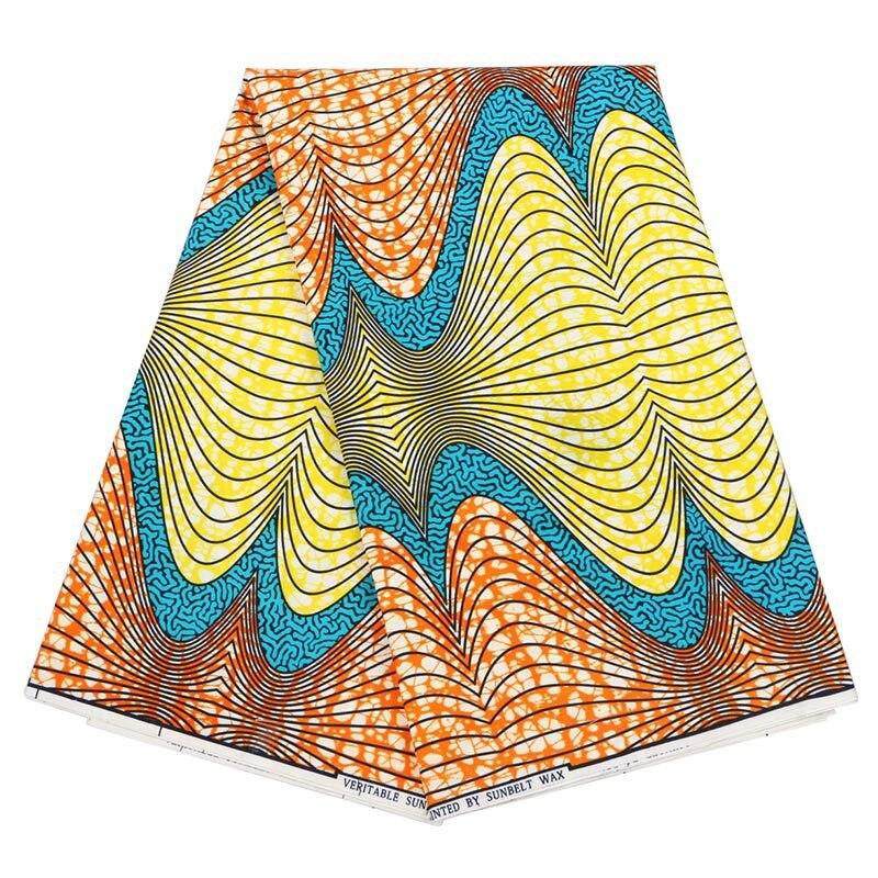2019 New African Dutch Wax Fabric Orange Yellow & Blue Print Pagnes African Veritable Guaranteed Wax Printed Fabric