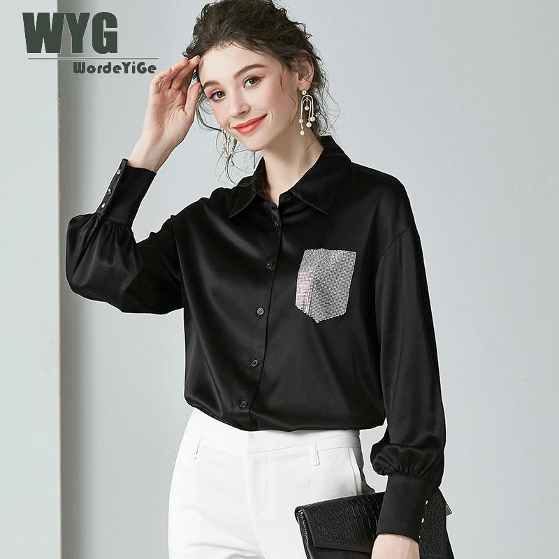 Blouses et hauts en Satin noir de haute qualité 2020 printemps nouvelles Presses à manches longues angleterre Style chemises en soie naturelle