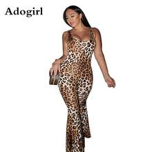 Adogirl Leopard Print Women Sexy Jumpsuits Spaghetti Straps Slim Romper Foot Cut Pants Night Club Overalls Macacao Feminino