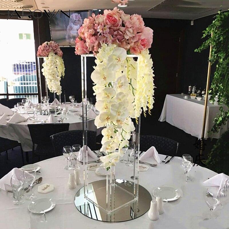 JAROWN nouveau mariage bureau pièce maîtresse fleur support fleur pilier acrylique cristal route plomb scène de mariage mise en page accessoires