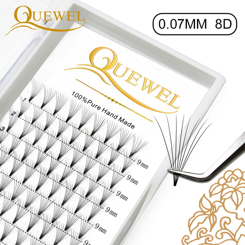 Quewel 8D Premade Volume Eyelashes Extensions 0.07mm Russian Fans Individual Faux Lash 12 Lines Hand Pre Made Silk Eyelash