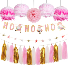 9pcs/set Christmas Paper Decoration Kit Ho Garland Lanterns Star Tassels  Xmas Crafts Hanging Pink Decor