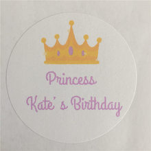 100 Pieces Custom Princess Crown Sticker Personalized Girl Birthday Gift Adheive Seals Decoration Round Labels