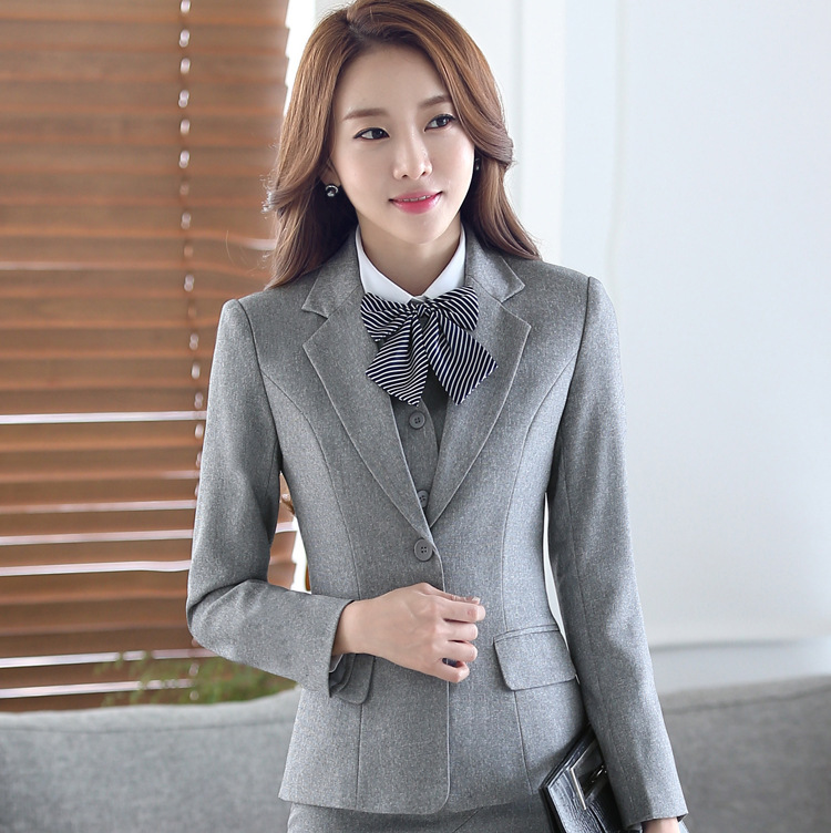 Formal Elegant Uniform Business Styles Blazers Suits Two Piece with Tops and Skirt for Ladies Office Work Wear Jacket Blazer Set