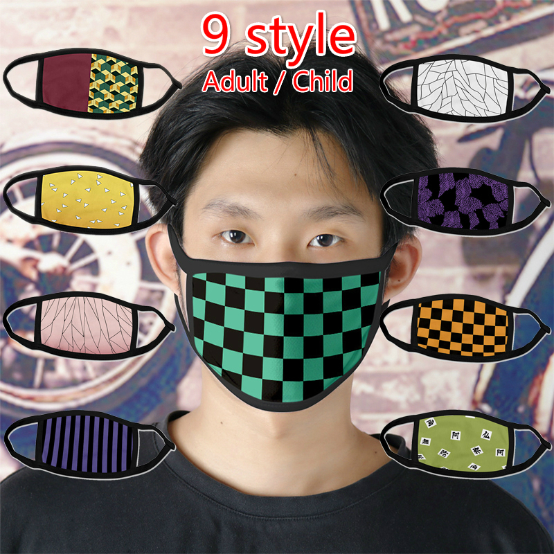 Anime Kimetsu No Yaiba Demon Slayer Masks Mask Prop Kamado Tanjirou Cosplay Cotton Adult Child Masks