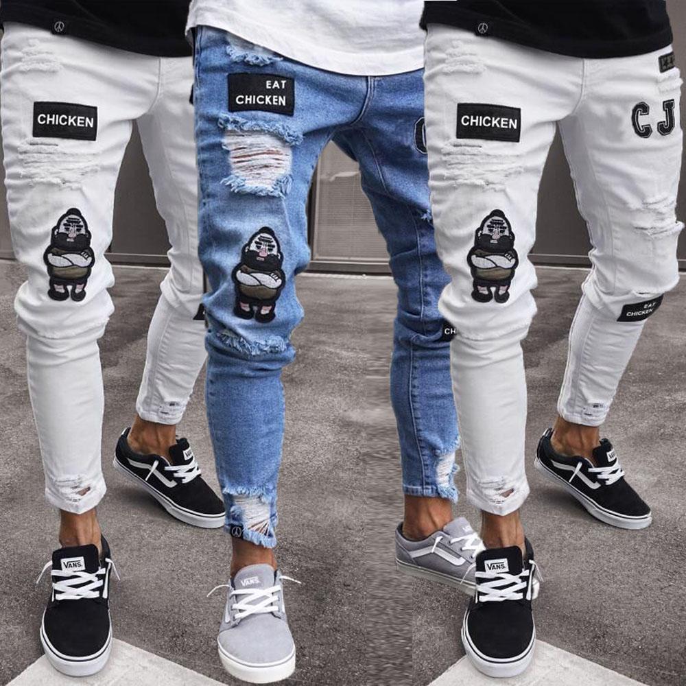 2019 Newest Fashion Fashion Men S Ripped Skinny Jeans Destroyed Frayed Slim Fit Denim Pant Zipper Hot Sale Skinny Pants Aliexpress