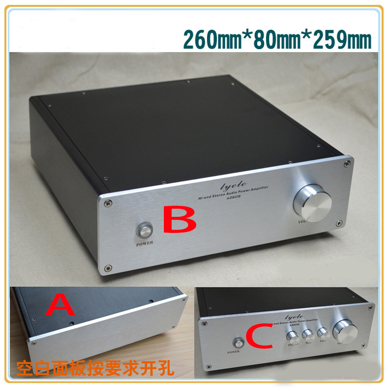 KYYSLB 260 80 259MM All-aluminum Amplifier Chassis X2608 DIY Enclosure Amplifier Housing Pre-stage Box  Amplifier Case Shell