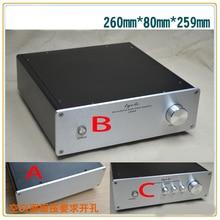KYYSLB chasis amplificador de aluminio X2608, carcasa de amplificador de 260x80x259MM, caja para amplificador de etapa previa