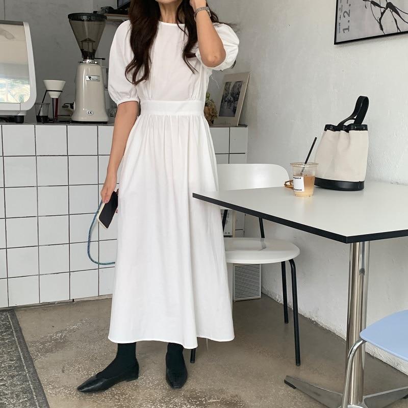 H8d2dba47e3304284b11535cfca6f5648l - Summer O-Neck Short Sleeves Elastic-Waist Calf Length Solid Dress
