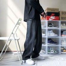 Джинсы мужские прямые однотонные свободные брюки карго повседневные