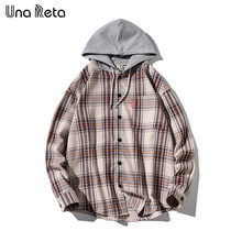 UnaReta Hip hop Men Shirt Brand New Arrivals Spring Autumn Fashion Long Sleeve Loose Casual lattice Hooded Shirts Men Streetwear(China)
