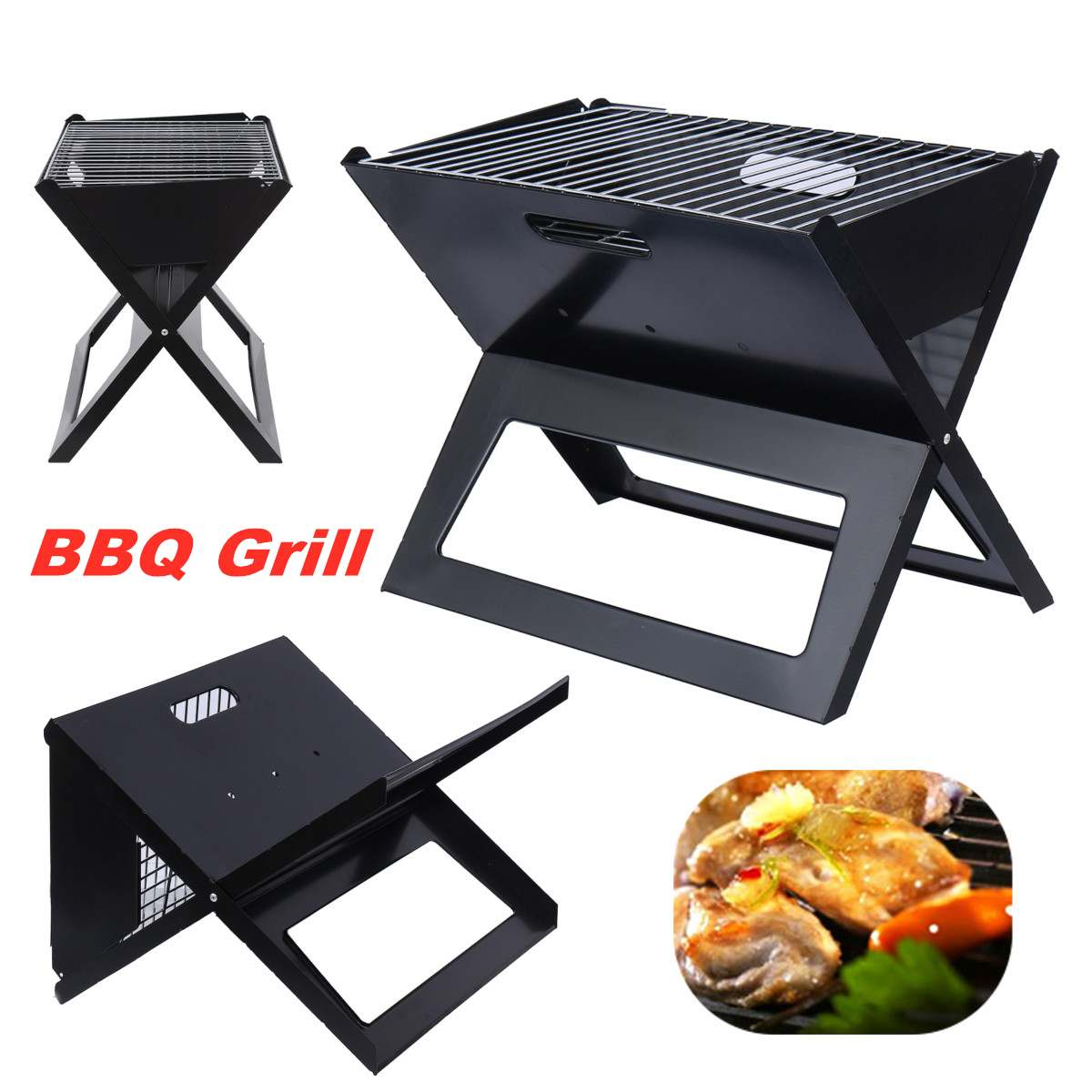 Portable Charcoal Grill Folding Barbecue BBQ Grill Camping Picnic Outdoor Cooker Tool Folding Charcoal Barbecue BBQ Grill Net