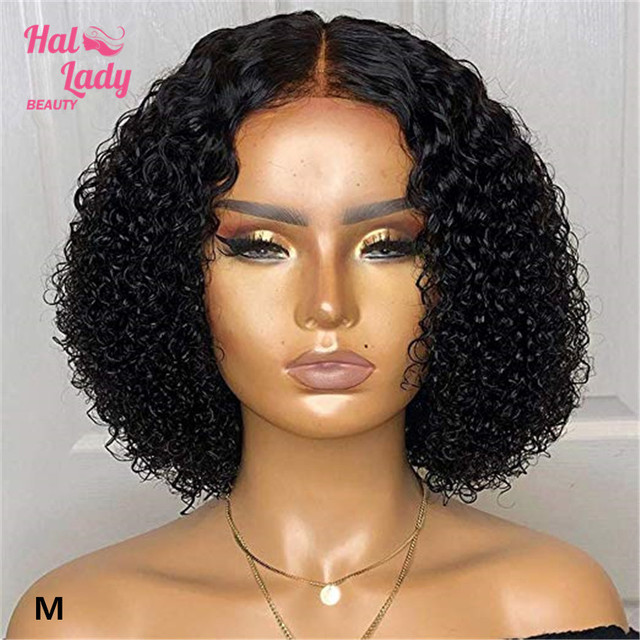 Halo Lady Beauty 13*4 Deep Curly Bob Wig Preplucked Brazilian Lace Front Human Hair Wigs For African American Women Remy 150% 1B