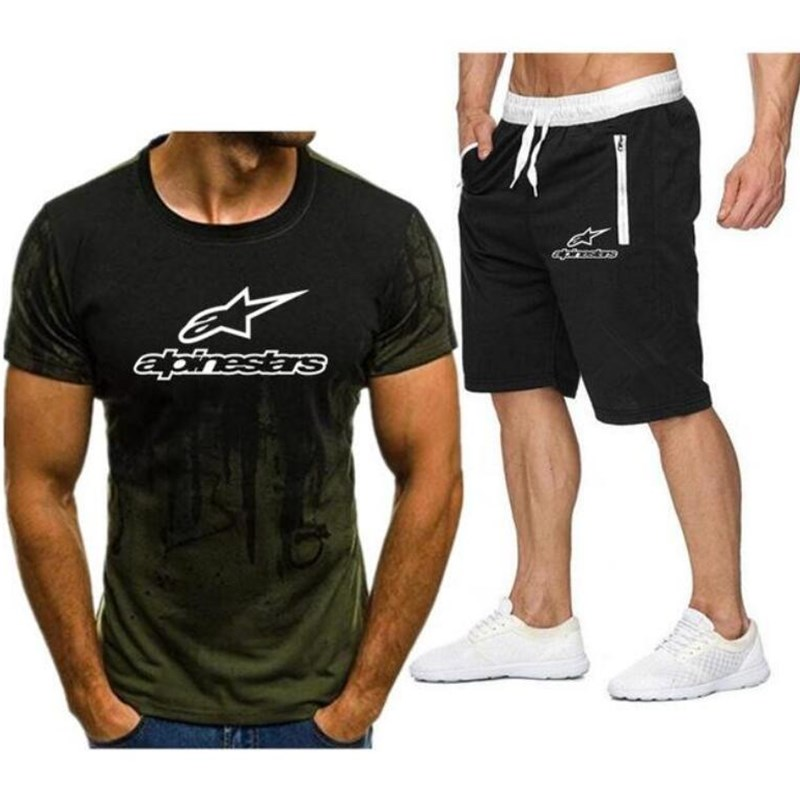 Alpinestar Fashion T-shirt Shorts Men's Sportswear Summer Men's Suit Clothes Short-sleeved T-shirt Shorts Beach Casual Sets 2PC