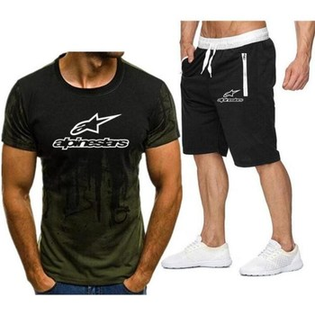 Alpinestar Fashion T-shirt Shorts Men's Sportswear Summer Men's Suit Clothes Short-sleeved T-shirt Shorts Beach Casual Sets 2PC