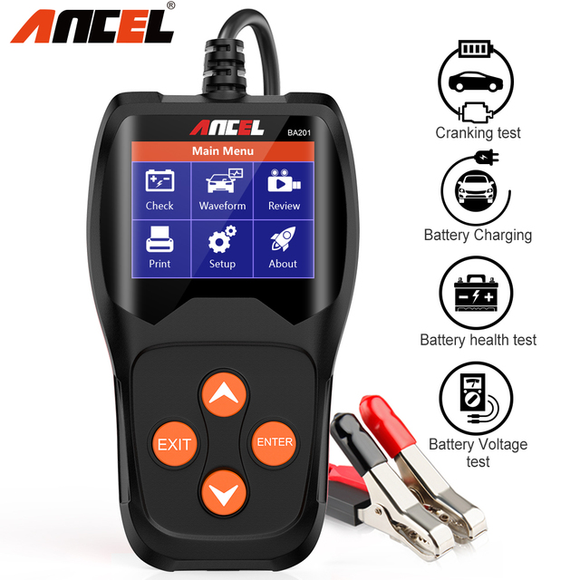 ANCEL BA201 Auto 12V Batterie Tester Analysieren 220Ah 2000CCA Spannung Laden Schnell Ankurbeln Lade Auto Diagnose Batterie Test