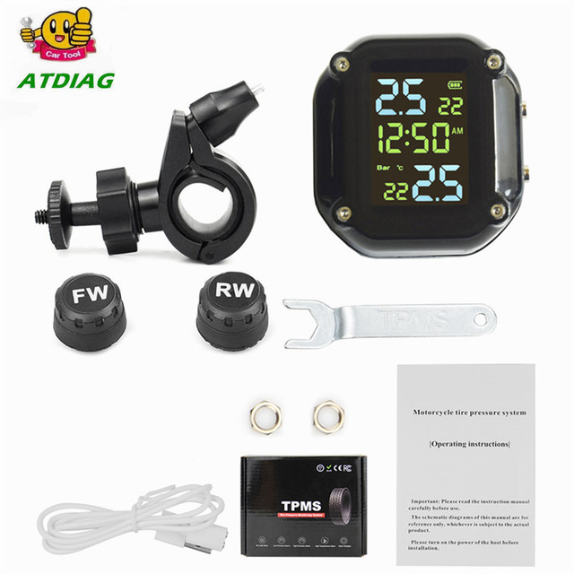with Time USB Charging Motorcycle TPMS Motor Tire Pressure Tyre Temperature Monitoring Alarm System with 2 External Sensors