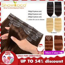 Hair-Extensions Human-Hair-Clip Machine-Made Clip-In Showcoco Remy Natural Straight 200G