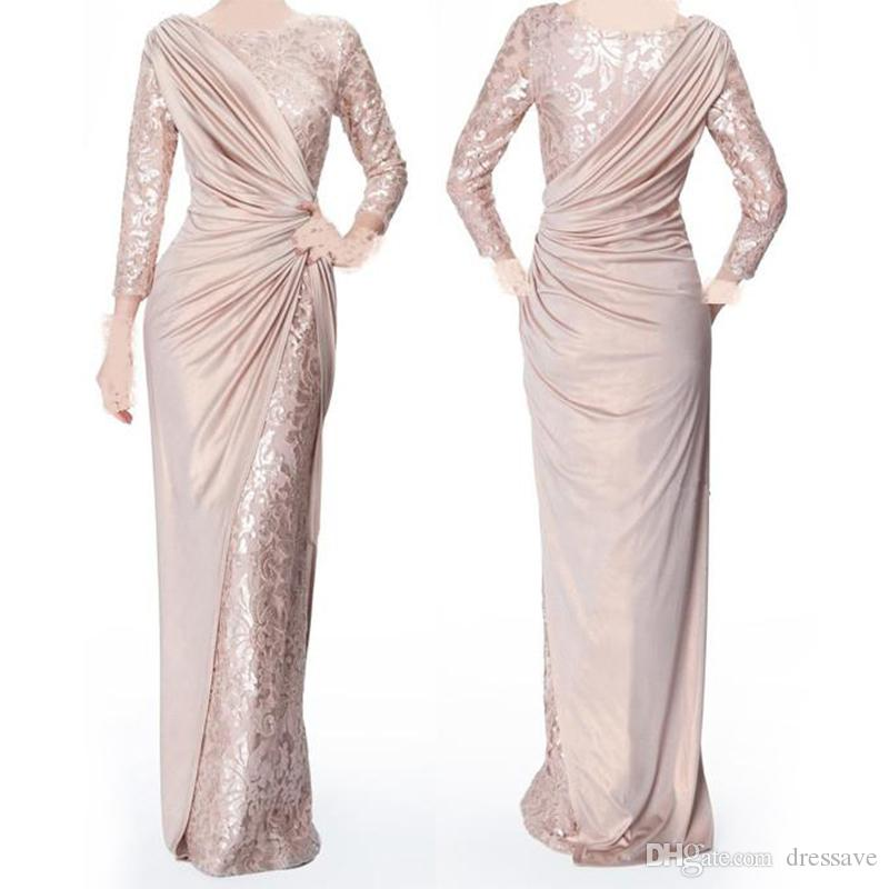 Pearl Pink Long Sleeves Mother Of Bride Groom Dresses For Wedding Jewel Neck Elegant Floor Length Pleats Formal Evening Gowns