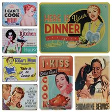 American Retro Poster Pin Up Gadis Tin Signs Dekorasi Plakat Logam Antik Lukisan Dinding Cafe Club Bar Dapur Dekorasi Rumah(China)