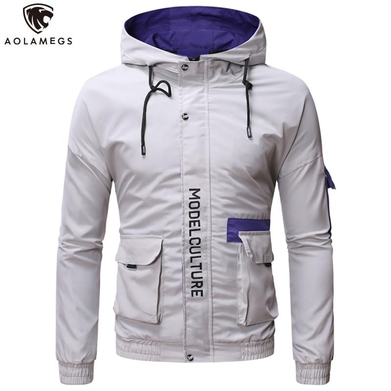 Aolamegs Men's Jacket Hit Color Letter Print Cargo Coat Men Multi-Pocket Windbreaker Jackets High Street Fashion Male Streetwear