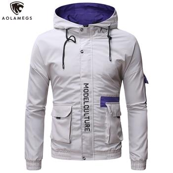 Aolamegs Men's Jacket Hit Color Letter Print Cargo Coat Men Multi-Pocket Windbreaker Jackets High Street Fashion Male Streetwear plus size letter print pocket design coat