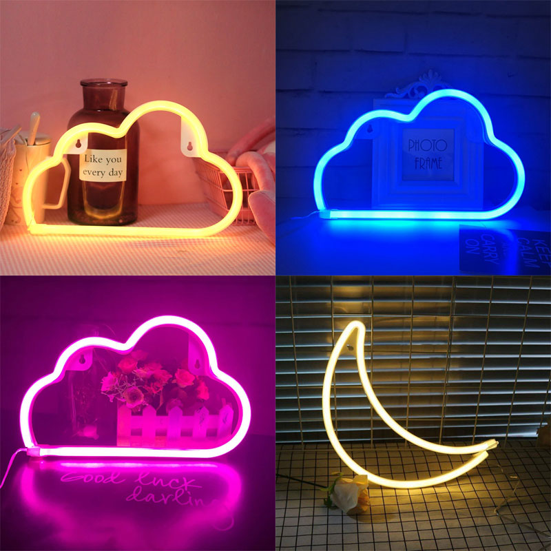 LED Cloud Design Neon Sign Night Light Art Decorative Lights Plastic Wall Lamp For Kids Baby Room Holiday Lighting Xmas Party