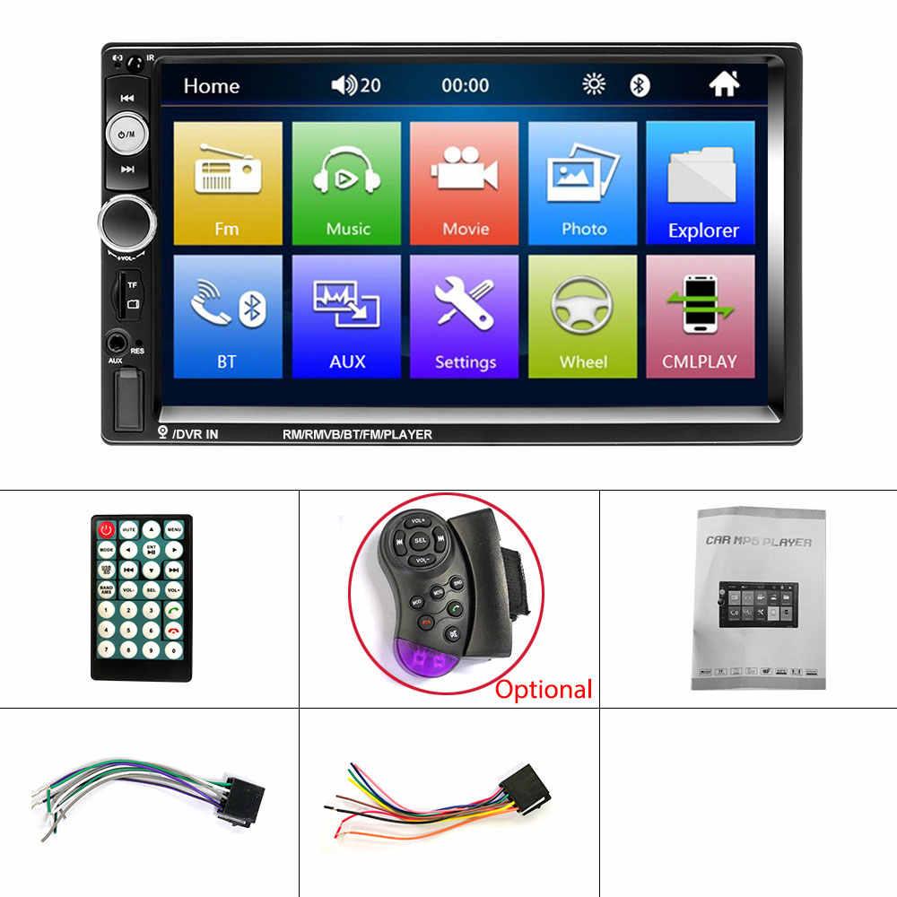 Radio samochodowe, odtwarzacz multimedialny z ekranem dotykowym, ekran dotykowy HD, przekątna 7 cali, stereo, MP5, Bluetooth, złącze USB, TF, FM, kamera, 2 DIN