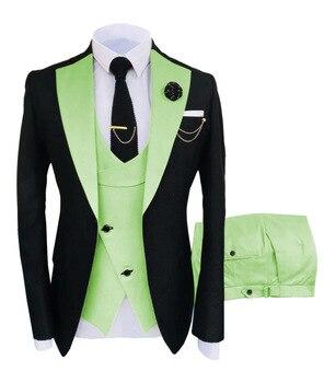 New Costume Slim Fit Men Suits Slim Fit Business Suits Groom Black Tuxedos for Formal Wedding Suits Jacket Pant Vest 3 Pieces 11