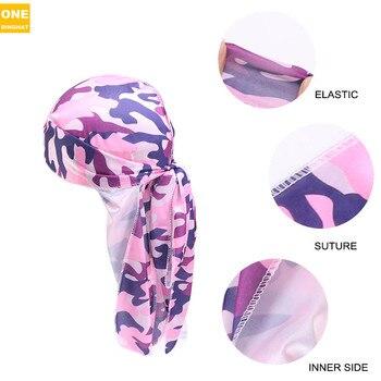 New Mens Camo Silky Durag Long Tail Pirate Head Cover Hat Women Bandanas do doo du rag Turban Hair Accessories Waves Rags