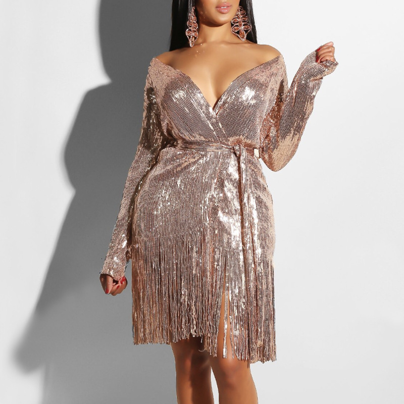 BGW Sparkling Sequin Sexy Deep V Neck Long Sleeve Cocktail Dress With Sashes Tassels Woman Night Dress Robe Vestido Cocktail