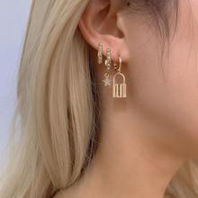 3PCS Gold Fill Lock Earrings Set for Woman Crystal CZ Tiny Star Stud Earring de pendientes Ear Piercing Jewelry Huggies