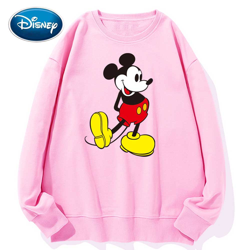 Disney Stylish Mickey Mouse Cartoon Print O-Neck Pullover Couples Unisex Women T-Shirt Long Sleeve Loose Tops S - 3XL 9 Colors